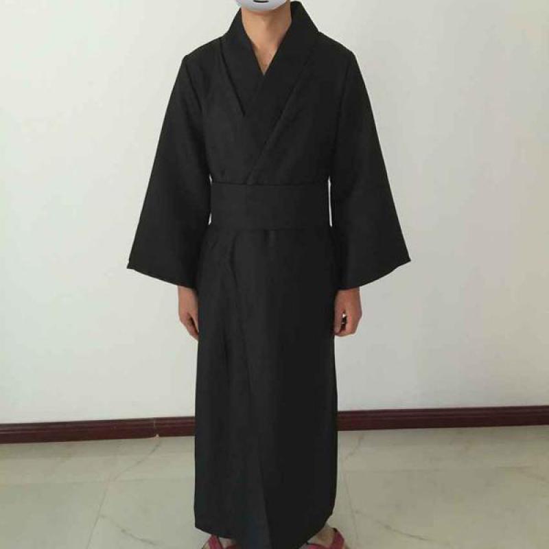 Classic Black Samurai Clothes Men Breathable Underwear Kimono Robe Traditional Japanese Cosplay Yukata Home Pajamas Bathrobe F30