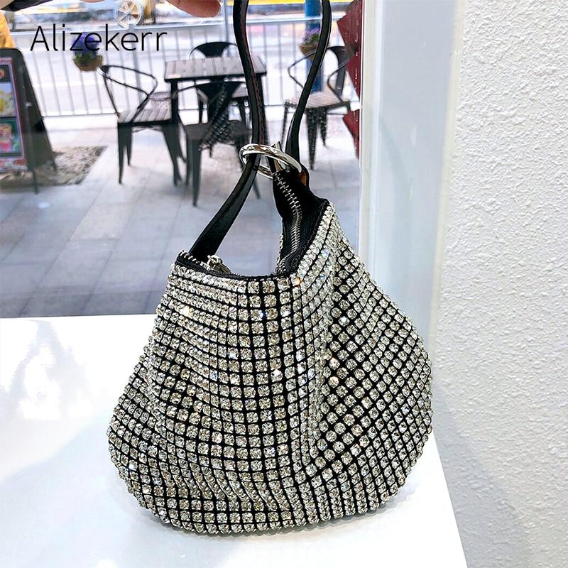 Bling Rhinestone Evening Bag Women 2020 Luxury Diamond Soft Dinner Party Small Clutch Purses Ladies Fashion Small Square Handbag