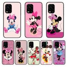 Caso do telefone móvel disney bonito minnie mouse caso de telefone para xiaomi redmi nota 9s 8 7 6 5 a pro t anime capa preta silicone volta