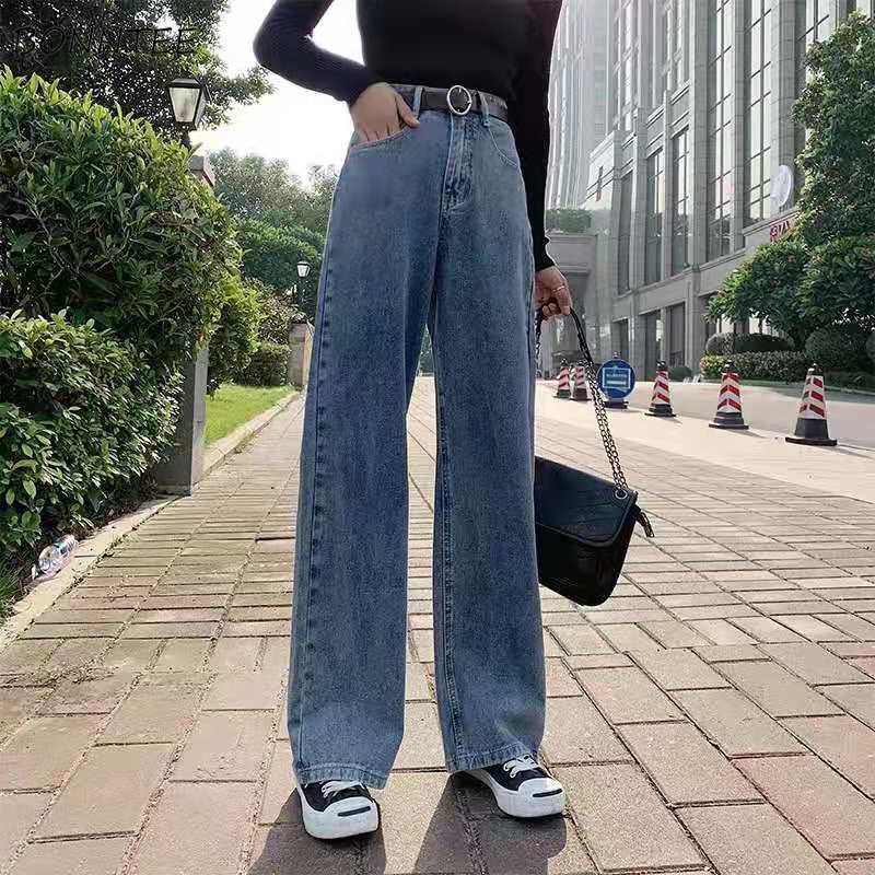 High Waist Wide Leg Jeans Women Elegant Full Length Streetwear Ladies All-match Classic Casual Plus Velvet Thick Fashion Kpop