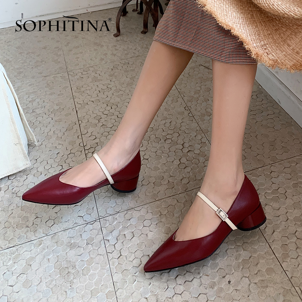 SOPHITINA Elegant Women' s Pumps High Quality Cow Leather Buckle Strap Pointed Toe Fashion Shoes Stylish Square Heel Pumps PO510
