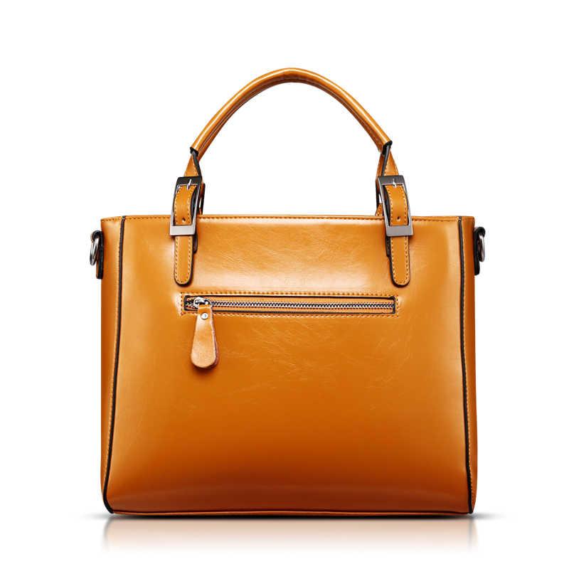 100% en cuir véritable femmes sacs à main 2019 nouveau mode sac à main marron femmes sac Vintage Messenger sac bureau dames serviette