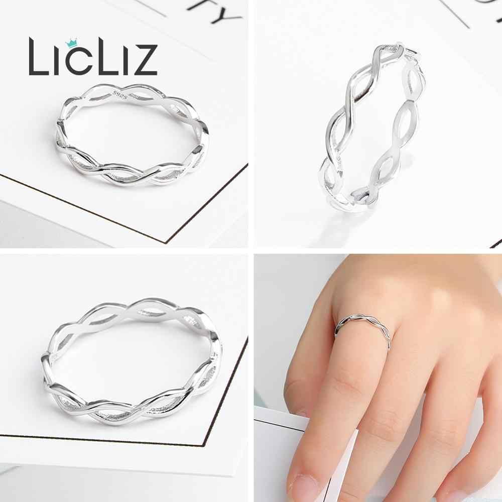LicLiz 925 เงินสเตอร์ลิงเครื่องประดับ Hollow Braided Twist Of Fate Cross แหวนผู้หญิงแหวน Leaf หัวใจ V Chevron LR0468