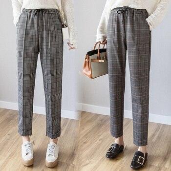 Women plaid pants New fashion female vintage classic Pants & Capris
