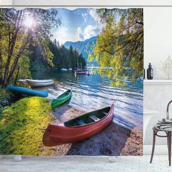 Landscape Shower Curtain, Bohinj Lake with Boats Canoes Triglav National Park Julian Alps Slovenia Print, Cloth Fabric Bathroom image