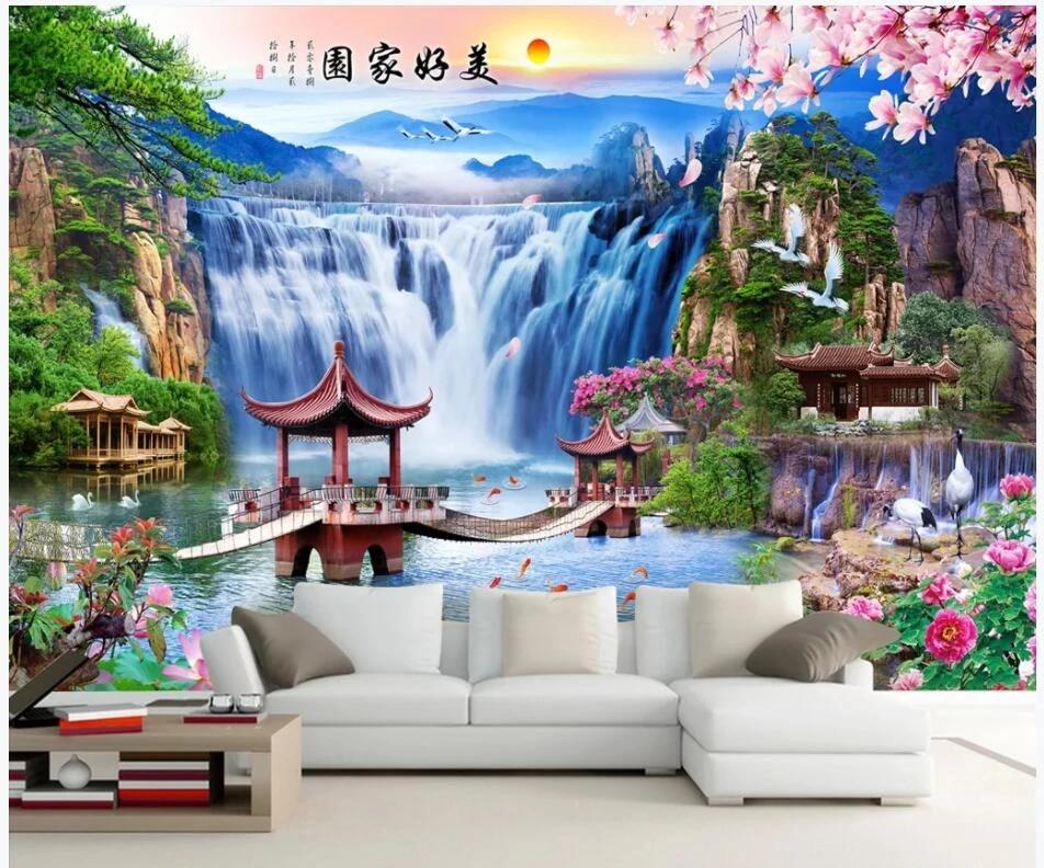Wdbh Custom Photo Mural 3d Wallpaper Chinese Mountain Waterfall Lake Bridge Background 3d Wall Murals Wallpaper For Living Room Wallpapers Aliexpress
