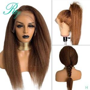13X4 Yaki медовая Блондинка курчавые Прямые Цветные парики на шнуровке передние человеческие волосы парики для черных женщин предварительно в...