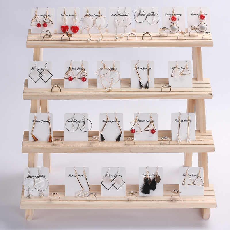 2019 nueva exhibición de joyería bandeja para colgantes pendientes anillos bloques para exhibición soporte de exhibición de joyería de madera maciza 2/3/4 capas