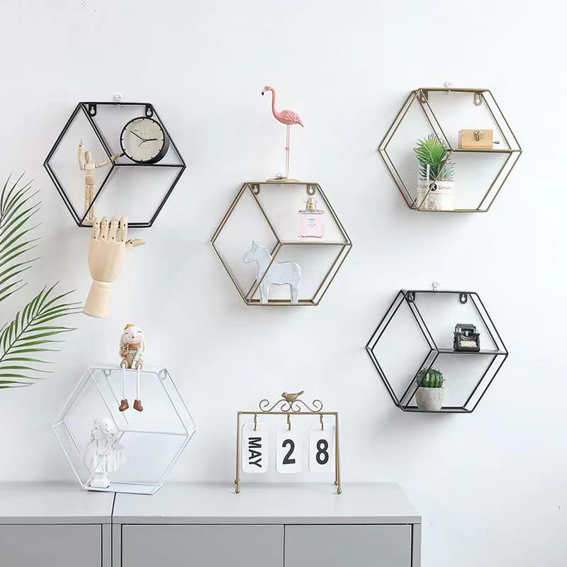 Modern simple iron art hexagonal wall shelf living room bedroom wall decoration, storage and finishing shelf