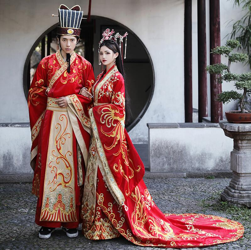 High Quality Chinese Ancient Wedding Hanfu Bride Long Tail Couple Costume Garment Standard Tang Ming China Wedding Costume Dress