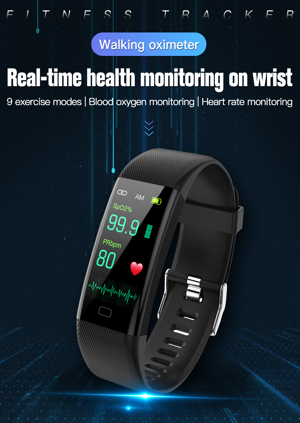 Smart watch Fitness Trackers Heart Rate Monitor Pulse Oximeter thermometer blood pressure smart bracelet for iPhone Xiaomi 2