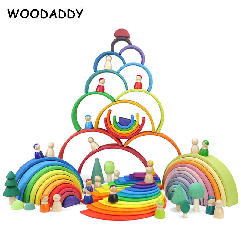 Dropshipping 12Pcs Rainbow Blocks Wooden Toys For Kids Building Blocks Pegdoll/Semicircle/Sunset Educational Preschool Aids Gift