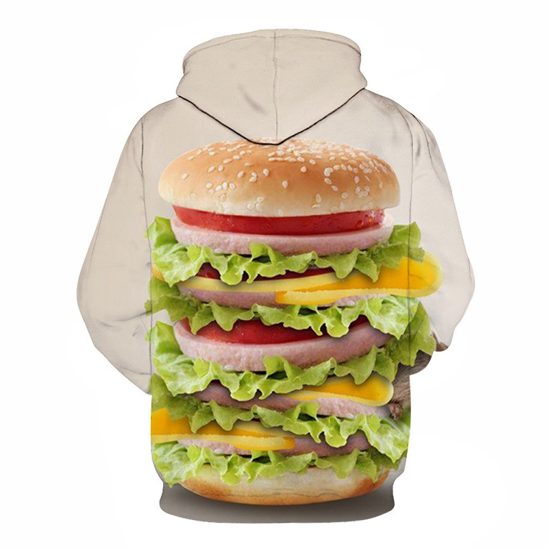 Fashion Men 3D Print Men And Women Sweatshirts Nutella Noodle Burger Food Hoodies Kids 2019 Spring