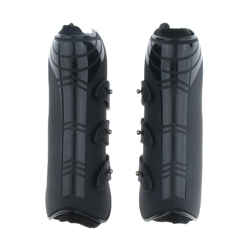 Horse Exercise Jumping Leg Protection Support Boot, Open Front Tendon & Fetlock Boots Set - Black
