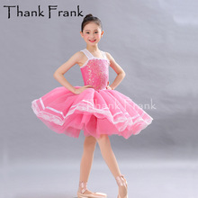 Dress Bubble-Ballet-Skirt Dancewear Professional Tutu Lyrical Balett Sequin Girl Children