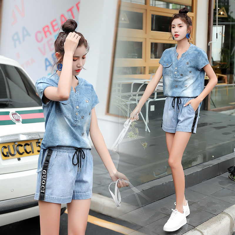 2019 New Style Denim Shorts Set Short-height Spring Clothing Collocation High Fashion Network Red Two-Piece Women's