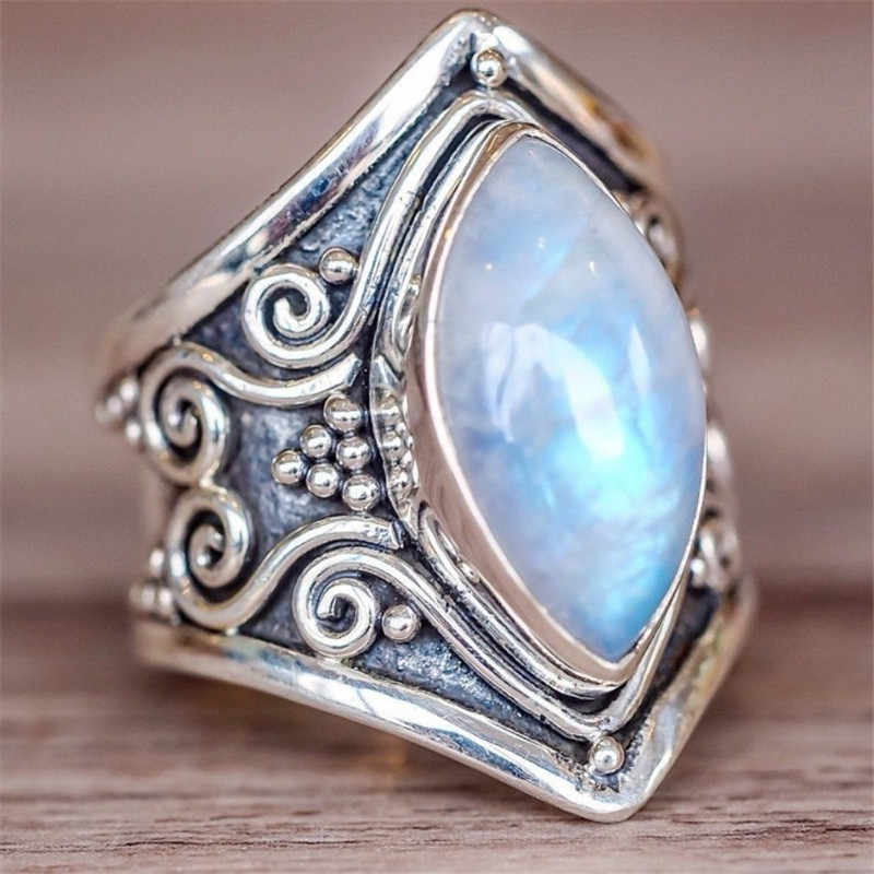 Mode Vintage Lila Mondstein Ringe Für Frauen Schmuck Silber Überzogene Ring Frauen Hochzeit Ring Weibliche Engagement Ringe Femme G