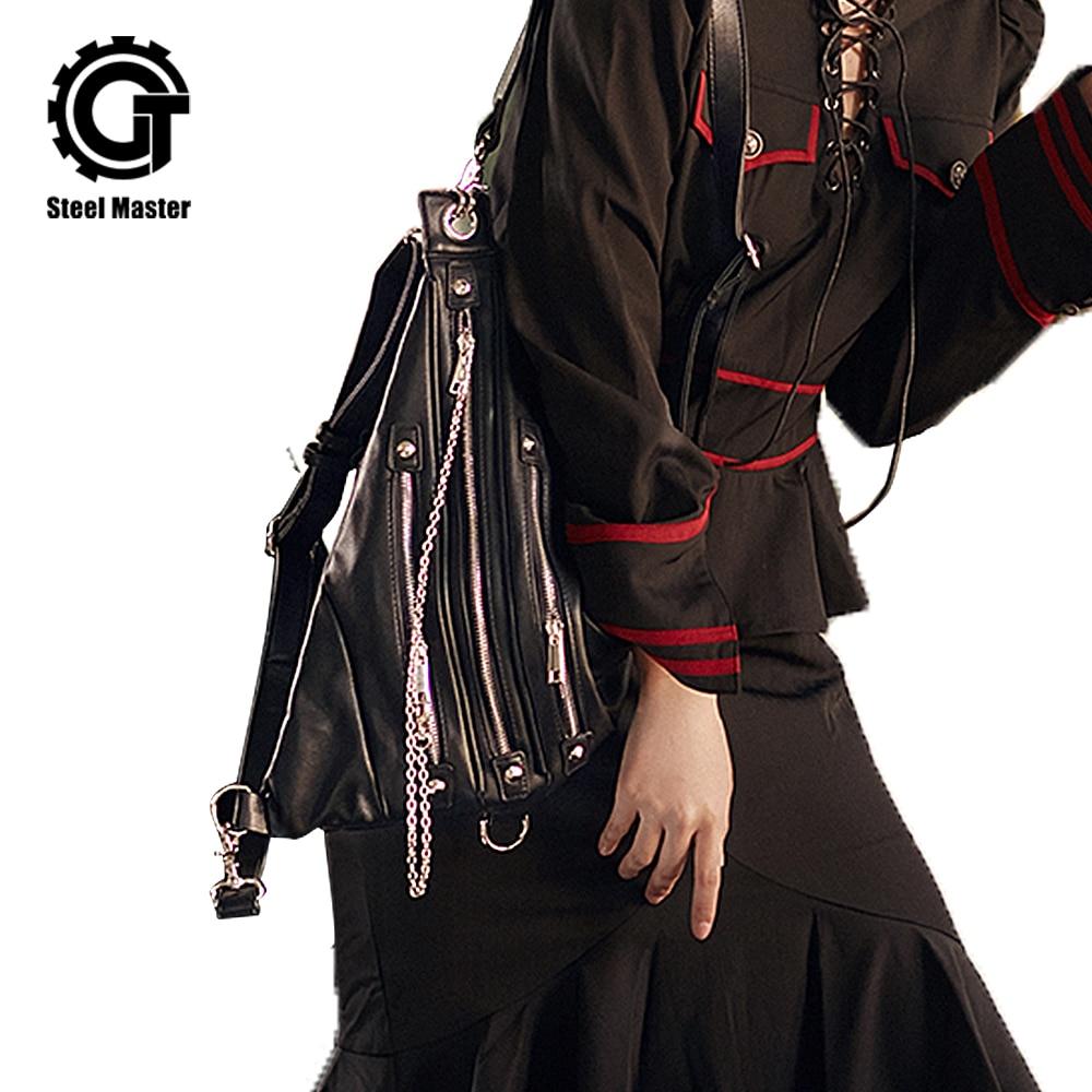 Black Vintage Handbag Tote Women Rivet Bag Shoulder PU Leather Backpack Punk