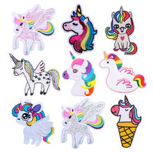 Unicorn Iron On Patches On Clothes Stickers On Fabric Cute Stripes On Jeans Jacket Cowboy Backpack Apparel Applique For Crafts on