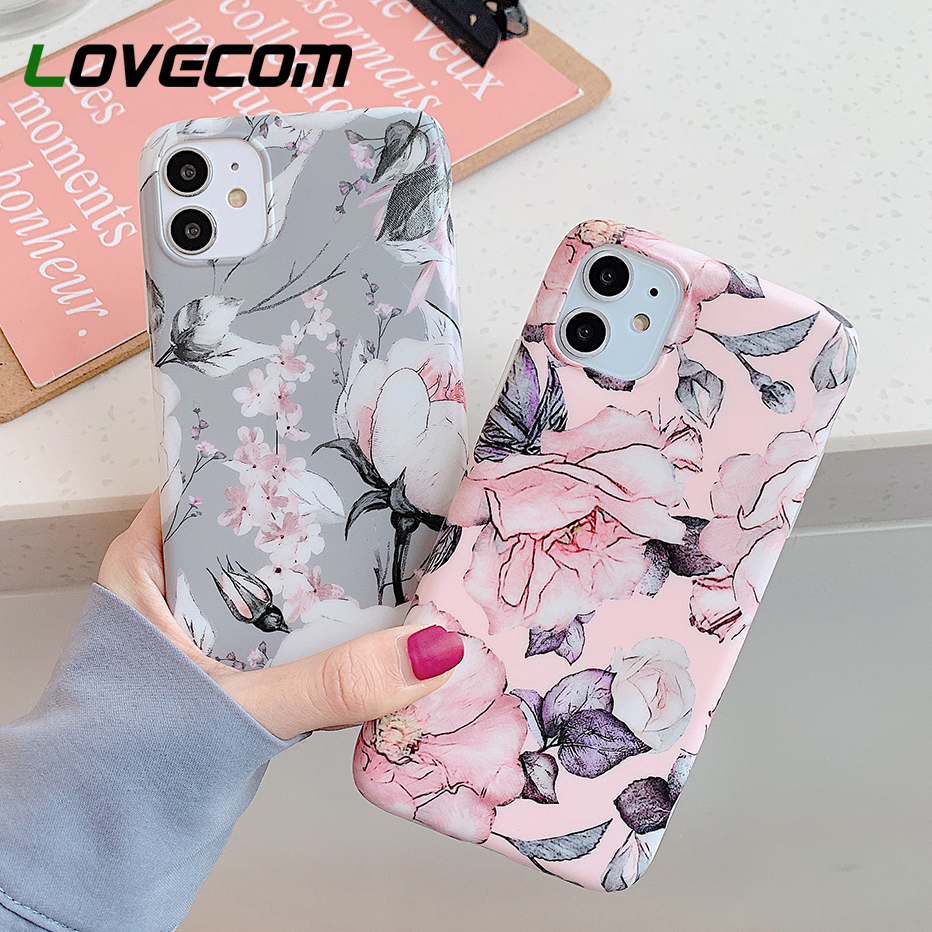 Vintage Floral Phone Case For iPhone 11 Pro Max XR X XS Max 7 8 6S Plus Case Soft IMD Matte Full Body Protect Phone Back Cover|Fitted Cases|   - AliExpress