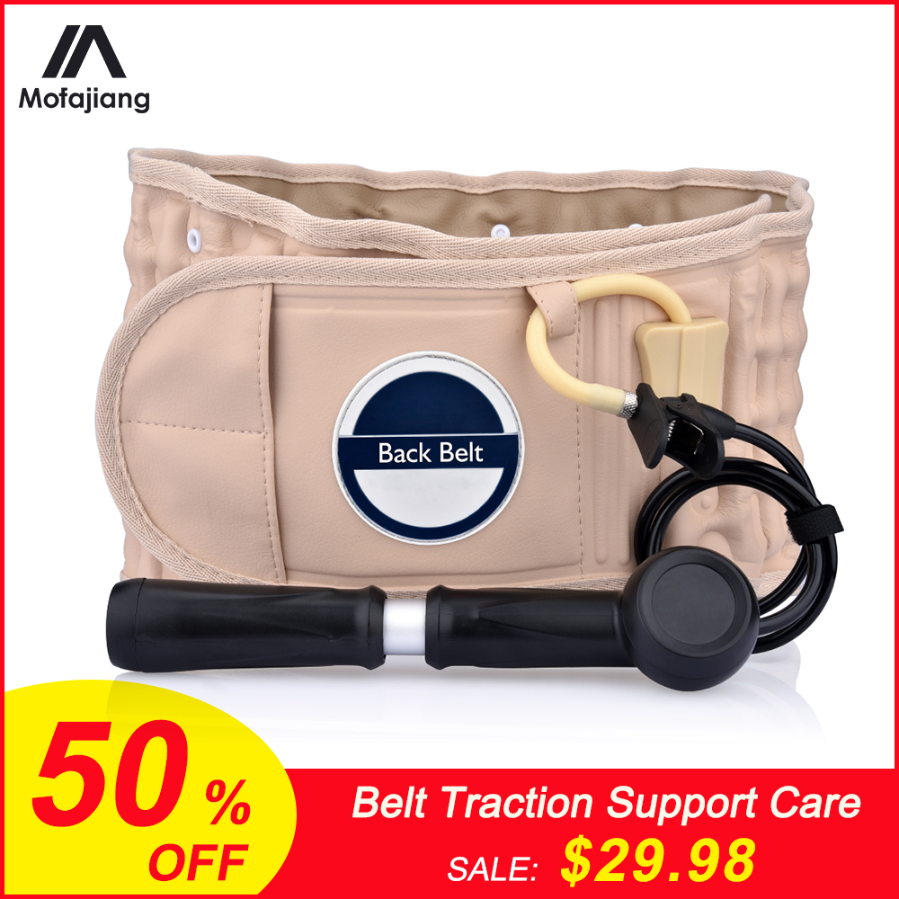 Belt Traction Support Care Health Brace Decompression Back Relief Waist Lumbar Traction Backache Heat Therapy Pain Massager