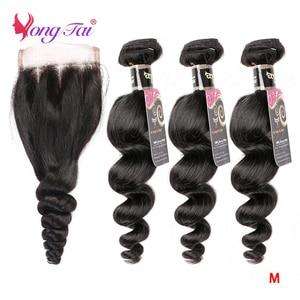 YuYongtai Brazilian Loose Wave 4x4 Lace Closure With Bundles 100% Human Hair 3 Bundles With Closure Non-Remy Medium Ratio