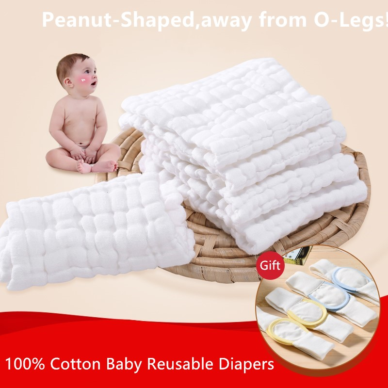 100% Cotton Baby Reusable Diapers For Newborn 10 Layers Washable Cloth Diaper Inserts 5/10pcs Baby Nappies Liners 0-2Y