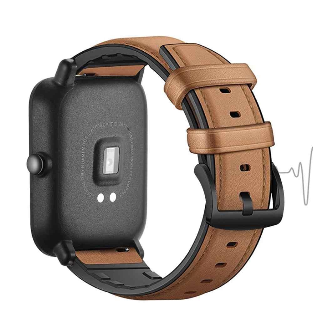 Bracelet en cuir véritable DKPLNT 20/22mm pour Bracelet gtr Amazfit Bip S gts pour xiaomi Amazfit GTR 42mm 47mm