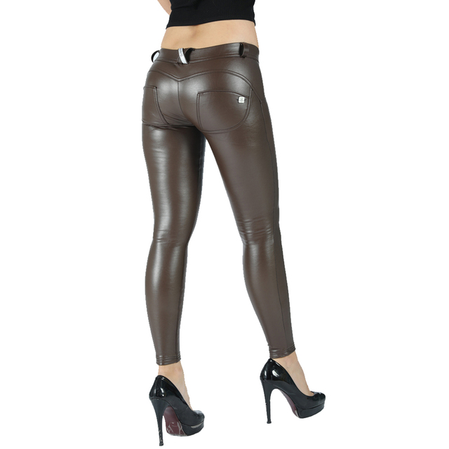 Melody eco leather legging seamless pants full length faux leather maroon leggings women joggers mid rise button fly 6