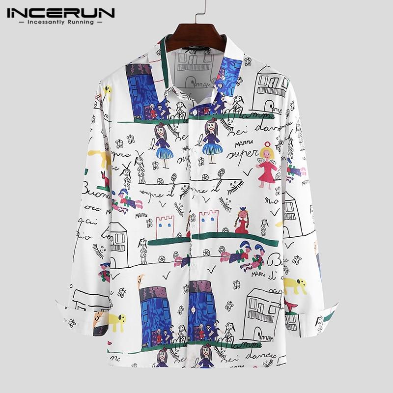 INCERUN Men Casual Printed Shirt Long Sleeve Turn-down Collar Hawaiian Streetwear Fashion Korean Brand Shirts Men Party Blouse
