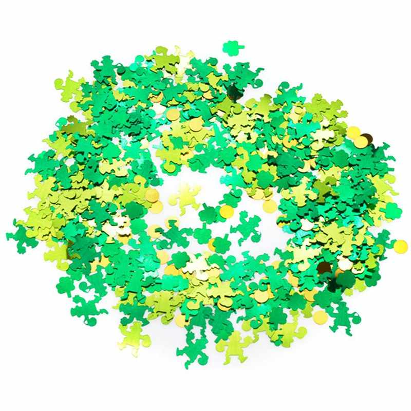 UPVC สีเขียว Three-Leaf Clover Goblin Dot Sequins เล็บ Art Applique Miniatures PARTY ตกแต่ง Confettis