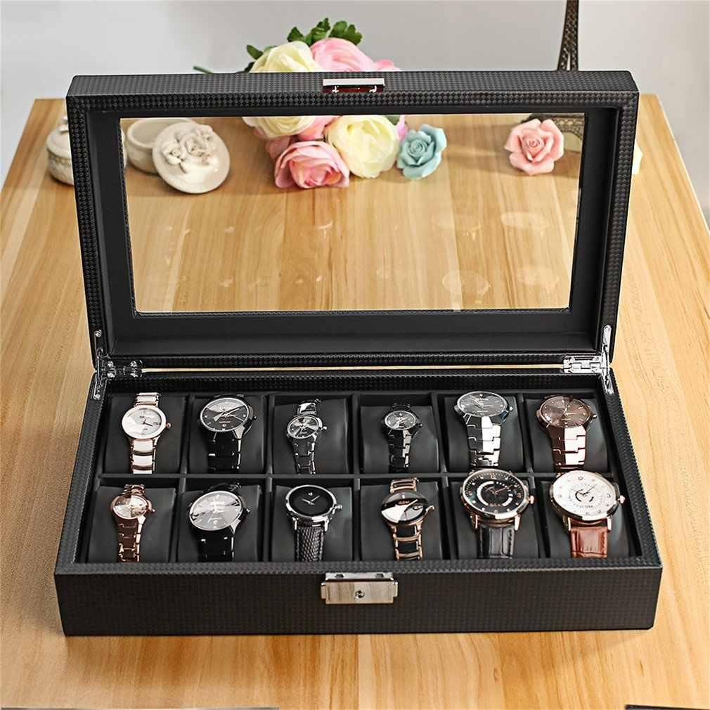 Đen cao Lớp 12 Slots Luxury Jewelry Display Xem Hộp lưu trữ Chủ Large Glass Window Lên trên Organizer container