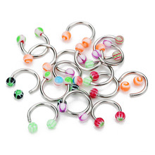 10Pcs/lot Stainless Steel Nose Hoop Rings Balls Circulars Horseshoes Barbell Ring Body Piercing Jewelry