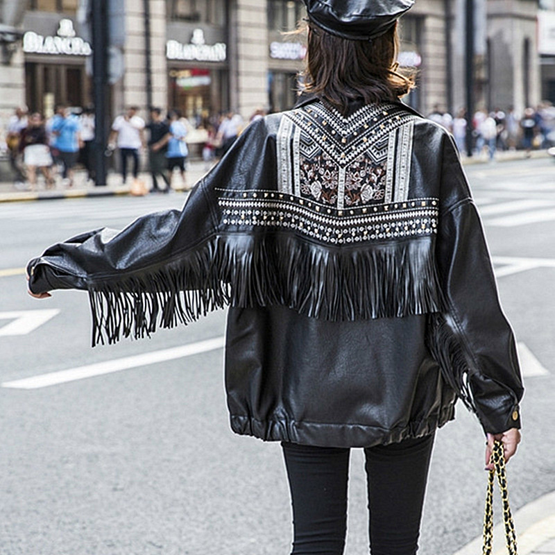 Black Embroidery Rivet Tassel Faux Leather Jacket Plus Size Women Autumn Female Motorcycle Biker Jacket Oversize Ladies PU Coat