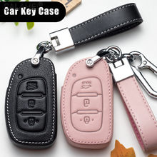 Leder Auto Smart Key Abdeckung Fall Halter Schutz Für Hyundai Tucson Mistra IX25 IX35 I20 I30 I40 HB20 TM 2016 2017 2018 2019