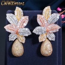 CWWZircons pendientes de Naija para mujer, de 3 tonos, dorados, de lujo, flor de gota de hoja grande, Micro Circonia cúbica, pavimentados, pendientes fiesta casamiento, CZ644