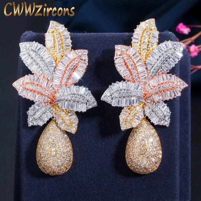 Cwwzircon 3 тона золото роскошный большой лист капли цветок микро кубический цирконий выложены Naija Свадебные вечеринки серьги для женщин CZ644