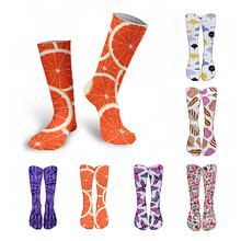 Harajuku-Socks Cycling Happy Animal-Food Women Funny Printed Warm High-Knee Cotton Fashion
