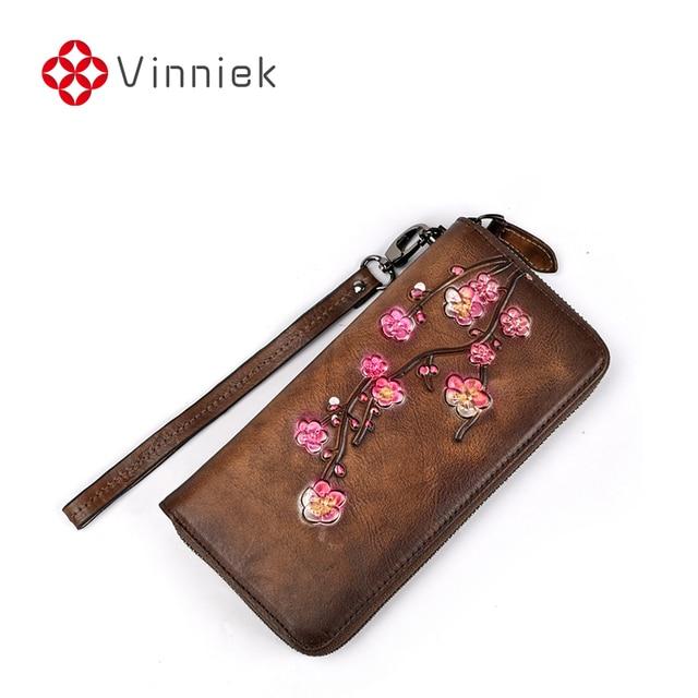 Portefeuille en cuir pour femme rétro givré en relief prune longs sacs à main européenne et américaine fermeture éclair femme pochette dame porte-cartes