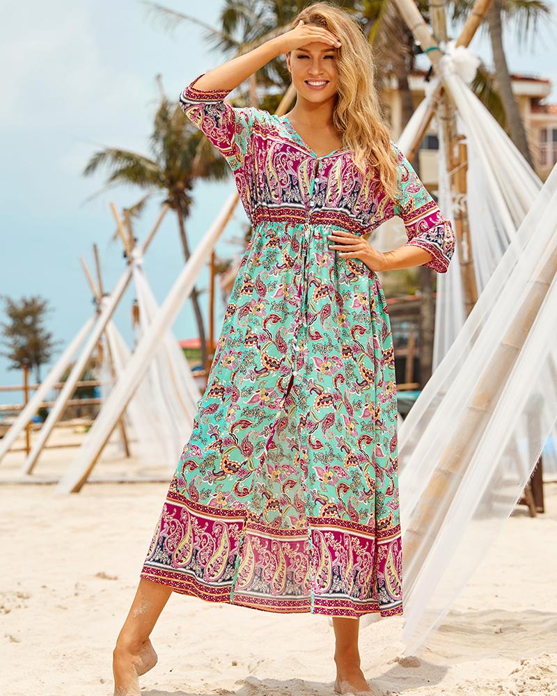 Hf69de24436e74797b45f9838e1c5efb2P - Sexy Bikini Cover ups Cotton Tunic Boho Printed Summer Beach Dress Elegant Women Plus Size