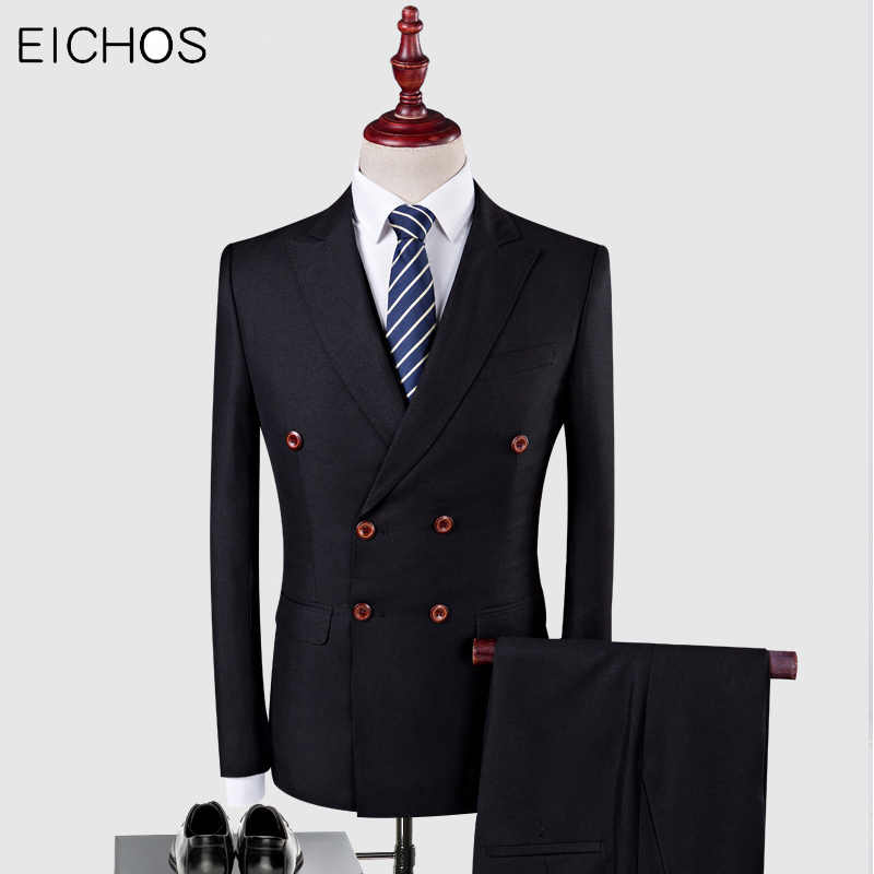 Men Double Breasted Suit Top Brand 3 Pieces Groom Wedding Suit Tuxedo Mens Party Host Costume Slim Male Suit Autumn Winter