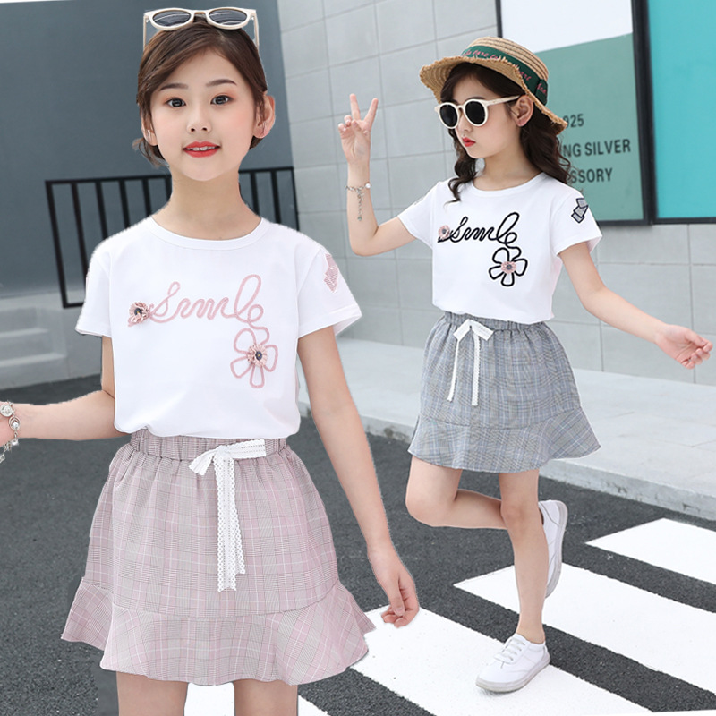 2021 summer girls T-shirt+skirt 2Pcs kids clothes sets fashion print pattern Embroidery Children clothing suit baby 2-13 years