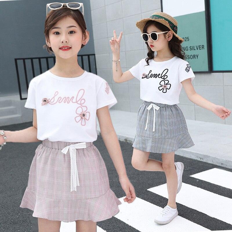 2021 verão meninas camiseta + saia 2 pçs crianças conjuntos de roupas moda padrão de impressão bordado crianças roupas terno bebê 2-13 anos
