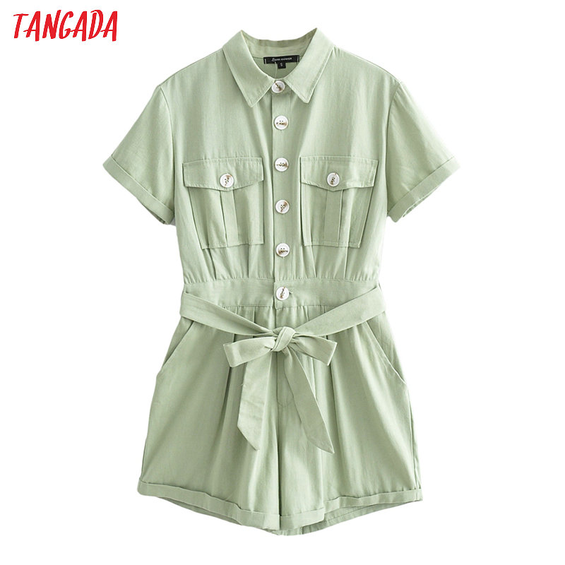 Tangada Women Vintage Green Cotton Playsuits Short Sleeve Rompers Ladies 2020 Summer Casual Chic Jumpsuits JA05