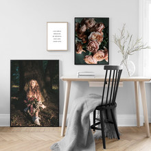 Flowers Girl Print Painting Wall Nordic Poster Art Vintage Quotes Pictures For Living Room Home Decor
