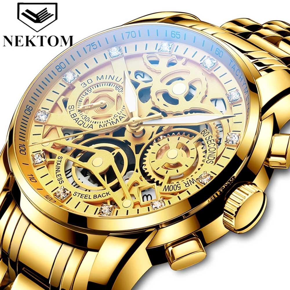 2021 NEKTOM Fashion Casual Men Watch Stainless Steel Golden Men Wristwatch Luxury Business Watch Relogio Masculio Gift for Men 1