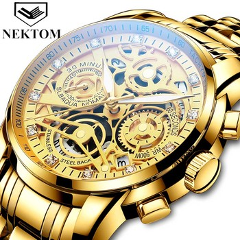 2021 Men Mechanical Wristwatch Fashion Casual Watch Stainless Steel Waterproof Watch Battery Powered Mechanical Quartz 2 in 1