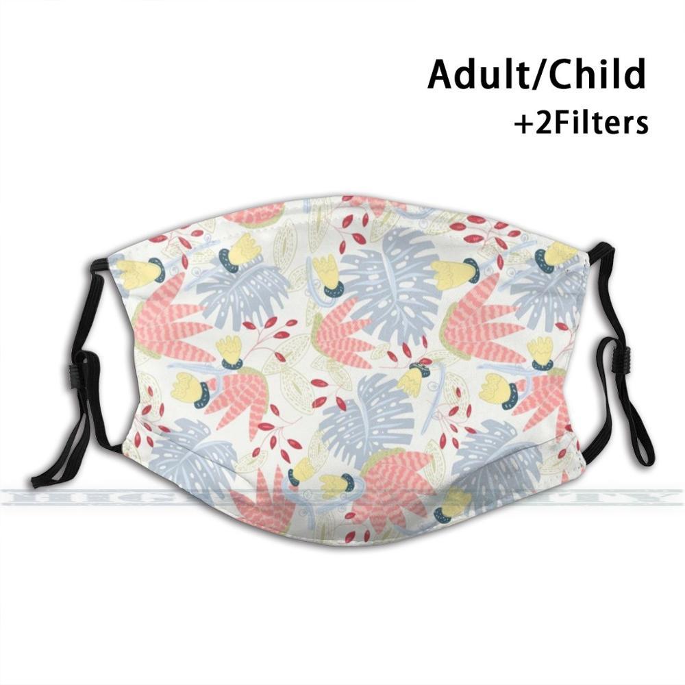 Trama floral y aloe vera pastéis design personalizado para crianças adultas anti filtro de poeira diy bonito impressão lavável máscara floral
