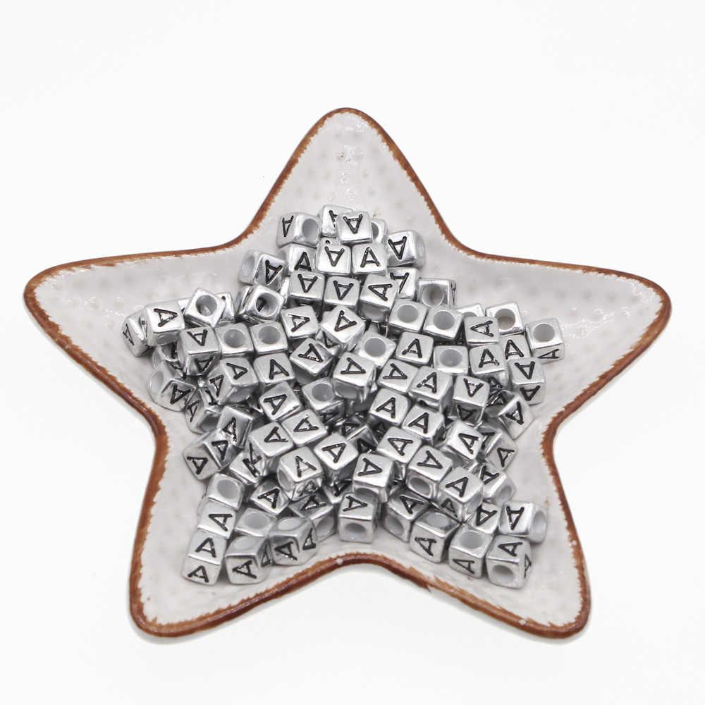 Chongai 100 Chiếc Acrylic Đơn Bạc Bảng Chữ Cái/Thư Cube Hạt Trang Sức Làm DIY Rời Hạt 6X6mm