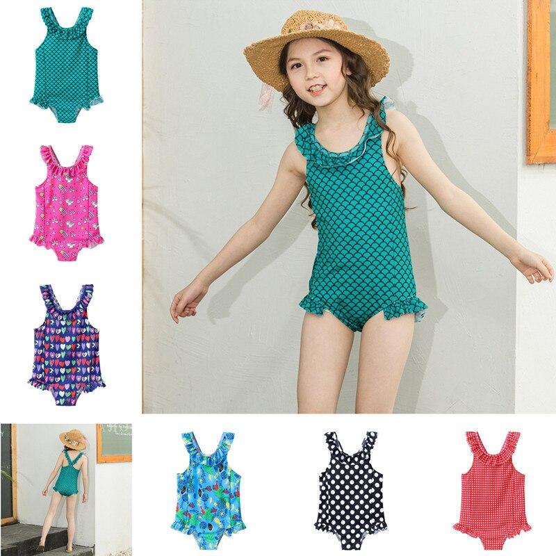 INS Hot Selling Europe And America New Style KID'S Swimwear Girls Cute Cartoon Swimwear Baby One-piece Sports Bathing Suit Quick